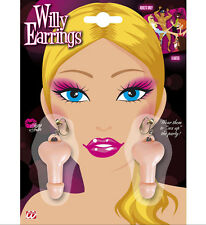 WILLY SHAPED EARRINGS 1 SET PER PACK NOVELTY HEN STAG NIGHT PARTY ACCESSORIES