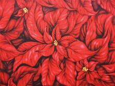 Christmas in Bloom Red Poinsettia Clothworks Cedar West Cotton Fabric Yard