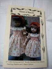"""13"""" Effner Little Darling and 10.5"""" Boneka Smocked Dress Patterns,"""
