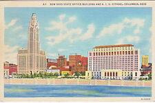 Ohio State Office Building & A.I.U. Citadel, Columbus, OH,  Linen  Postcard