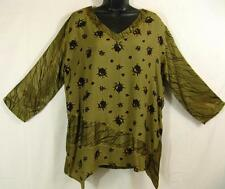T364~TIENDA HO~Yellow-Olive~NOTHING MATCHES~Elegant Rayon Top~SHARKBITE~l/s~OS