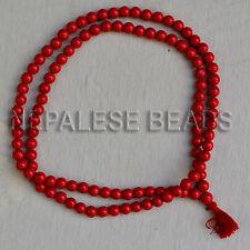 """PMS14 Tibetan Nepalese Buddhist Prayer Coral 108 Beads Mala 32"""" Tibet Nepal by E"""