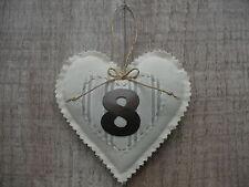 8th bronze anniversaire de mariage shabby chic crème amour coeur fait main cadeau