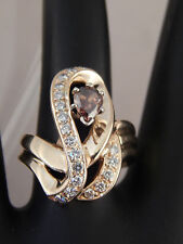 1.08 tcw Fancy Chocolate Pear Diamond F/VS Designer Cocktail Ring 14k YG Unique