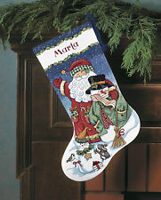 Cross Stitch Kit ~ Dimensions Santa and Snowman Christmas Stocking #8714