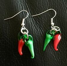 Red Hot & Green Chilli Pepper Double Drop Earrings Rockabilly Vintage Steampunk