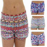 Ladies Hot Pants Casual Summer Beach Shorts Floral Aztec Holiday