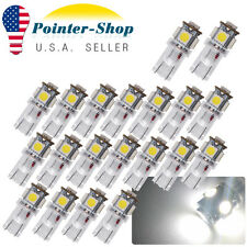 20X T10 194 5050 5 SMD LED W5W Car License Plate Light Bulbs 192 168 158 White