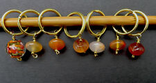 Stitch marker, knitting 6+1 , agate and lampwork glass beads