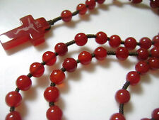 RED Rare Natural Carnelian Agate Beads & AGATE CROSS Rosary necklace