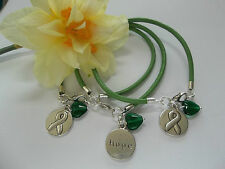 3 CT. LYMPHOMA  AWARENESS  GREEN  LEATHER CHARM BRACELETS w/HEART