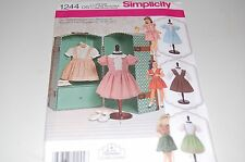 """Simplicity Pattern # 1244 - Girl 18"""" Vintage Doll Clothes - Four Outfits - NEW"""