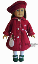 "Holiday Snowman Coat & Matching Beret Hat for 18"" American Girl Doll Clothes"