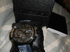 New Diesel Chronograph Ironside Patched Blue Denim Strap Black Watch  DZ4397