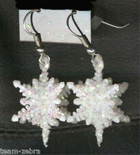 Funky Glitter SNOWFLAKES EARRINGS Winter Holiday Christmas Party Costume Jewelry