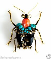 C & D gilt brass w/antique bug pin brooch w/Turquoise, Agate, Citrine, Onyx