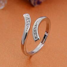 Simple New Natural Crystal Silver Charm Couple Lovers Charm Ring