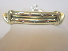 David Yurman 10mm Double Cable Diamond Metro 14k Gold Bars Bracelet 6 3/8""