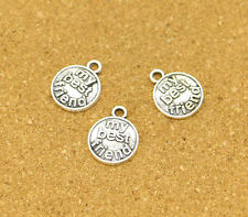 20pcs My Best Friend Charms Antique Silver Tone Word Disc Circle Charm 15*18mm