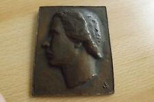 *Bronze-Hohlguss o.J.(ca.1900) Kunstmedaillen(ca291g.) Mädchenkopf nach links