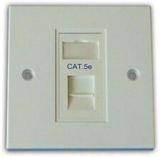 Cat5e 1 Way Data Network Outlet Kit, Faceplate, Module. LAN Ethernet Wall Mount