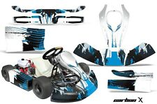 AMR Racing JR CRG Cadet Bambino Kart Graphic Decal Sticker Wrap Kit CARBON X BLU