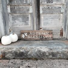 """Large Rustic Wood Sign - """"Autumn Blessings"""" Fall Decor, Autumn Leaves, Harvest"""
