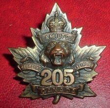 CAP BADGES-WW1 CANADIAN CEF 205th HAMILTON BTTN  CHARLTON REF 205-2