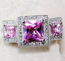 2CT Pink Sapphire &  Topaz 925 Solid Sterling Silver Ring Sz 8, T6-16