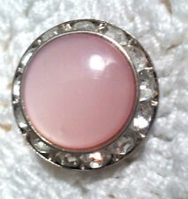 Vintage Signed Coro Pink Lucite Moonglow & Rhinestone Round Button Pin Brooch