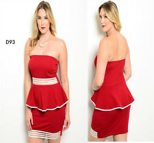 D93 New Womens Size 14/16 Red Strapless Bodycon Stretch Wedding Party Dress Plus