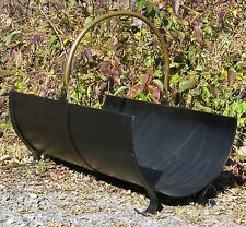 Antique Vintage Hollywood Regency Classic Brass Steel Wood Holder Log Rack