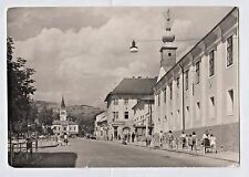 BREZNO 1966 Slovakia - Town street scene with woman in national costume - PC