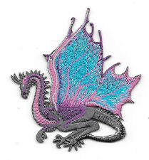Purple and Blue Winged Dragon Embroidered Die Cut Patch NEW UNUSED