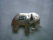 Vintage Mexico Silver elephant pin/broach, abalone inlay, sterling, antique