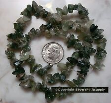 """16"""" Natural moss agate chip bead strand small med size beads for beading sb024"""
