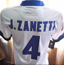 INTER MILAN Shirt Away 2013-2014 Sz S #4 ZANETTI Official Nameset with Serie A