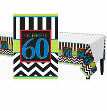 60TH BIRTHDAY TABLECLOTH TABLECOVER PARTY TABLE DECORATION CHEVRON 60 SIXTY