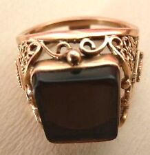 Great gift 4men Russian rose gold mens ring smoky quartz 14KT size S exclusive !
