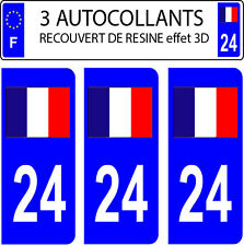 3 sticker plaque immatriculation auto DOMING 3D RESINE DRAPEAU FRANCAIS N° 24