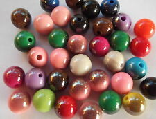 100 x Mixed colours round acrylic spacer beads 10mm