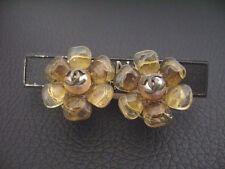 Auth Chanel Vintage Yellow Gripoix Camellia Clip Earring(00A)