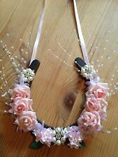 Bridal Wedding Lucky Horseshoe Cast Iron Gift Pink Rose Spray Pearls Brooches