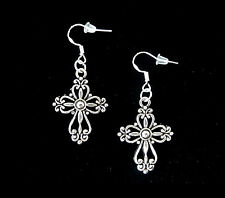 SILVER CROSS DANGLE FASHION EARRINGS~CHRISTMAS EASTER GIFT~925 STERLING HOOK