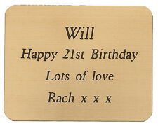 BRASS PLAQUE 45 X 35mm ENGRAVED WITH YOUR WORDS