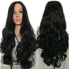 UK Cheap Price 3/4 Full Wigs Long Straight Curl Wavy Wig Real Synthetic Hair Wig