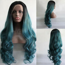 "24"" Long Wavy Lace Front Wig Heat Resistant Ombre 1B/Teal Blue"
