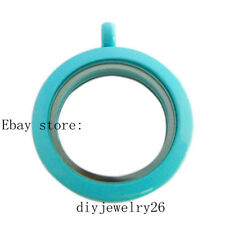 1pcs twist light blue lacquer plain round memory Locket fit DIY floating charms
