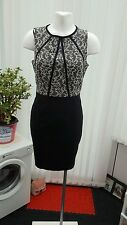 """new look"" ladies fitted dress size 12 black with lace effect top"
