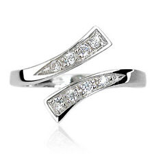.925 Sterling Silver Solitaire Multi CZ Design Adjustable Fashion Toe Ring